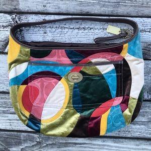 Large Coach shoulder bag purse rainbow